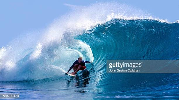 Surfing in the Pacific ocean
