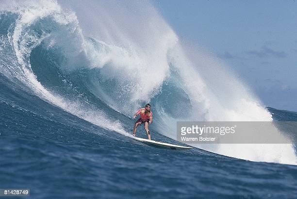 Surfing Ken Bradshaw in action at Waimea Bay Oahu HI 1/12/1986