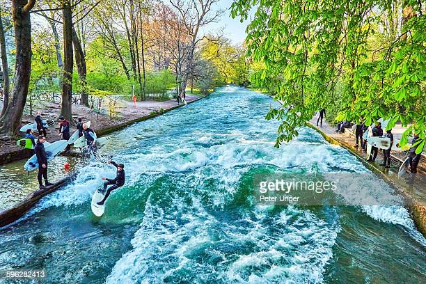 Surfing on the Englischer Garten,(English Garden )