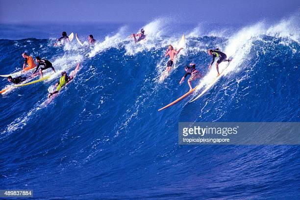 surfe na costa norte de waimea bay - waimea bay - fotografias e filmes do acervo