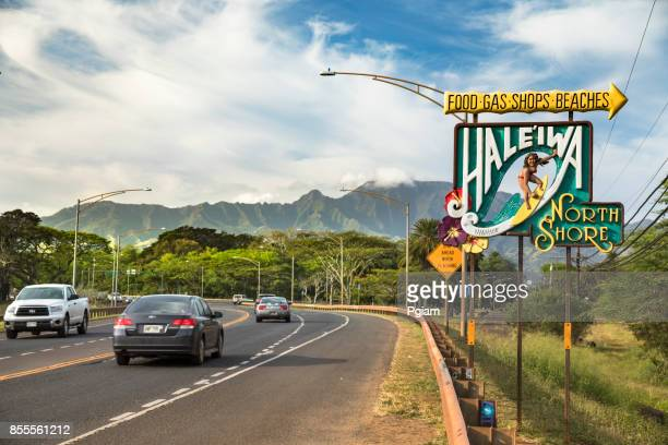 surfing sign of haleiwa oahu hawaii usa - north shore stock photos and pictures