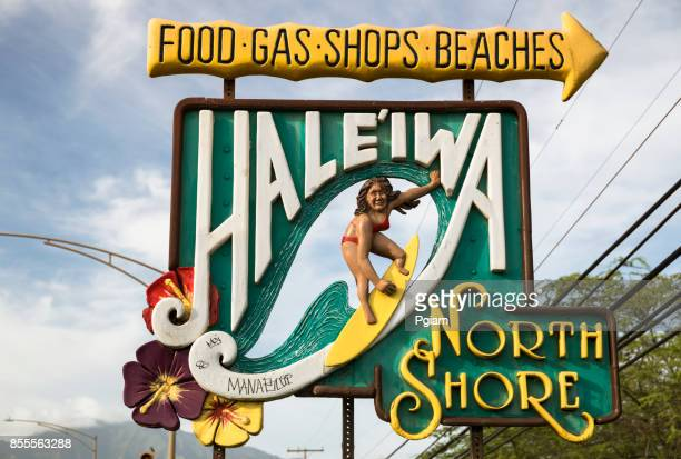 surfing sign of haleiwa oahu hawaii usa - haleiwa stock photos and pictures
