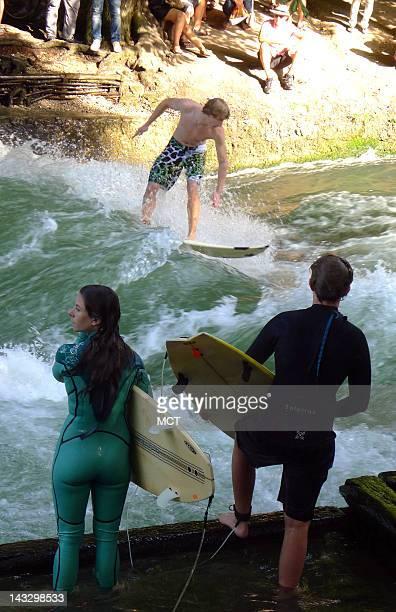 Surfing the Rapids Eisbach Englischer Garten Munich