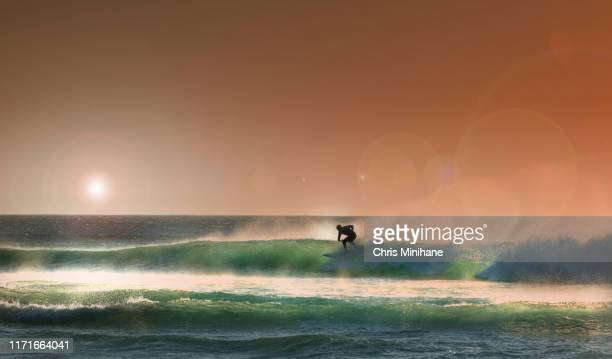 surfing with dramatic sunset - stock image - recreational pursuit stock pictures, royalty-free photos & images