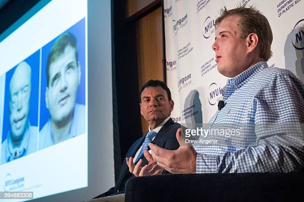 Surgeon Dr Eduardo Rodriguez looks on as Patrick Hardison a former firefighter from Mississippi speaks during a press conference at New York...