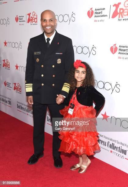Surgeon General Dr Jerome Adams and daughter Milly Adams attend the Red Dress / Go Red For Women Fashion Show at Hammerstein Ballroom on February 8...