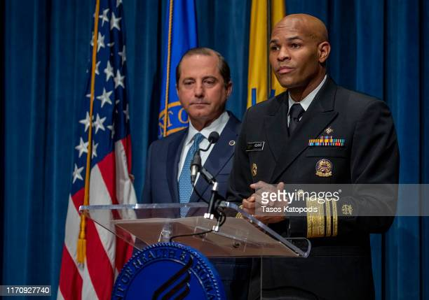 Surgeon General Jerome Adams and Health and Human Services Secretary Alex Azar speak at press conference on August 29 2019 in Washington DC Surgeon...