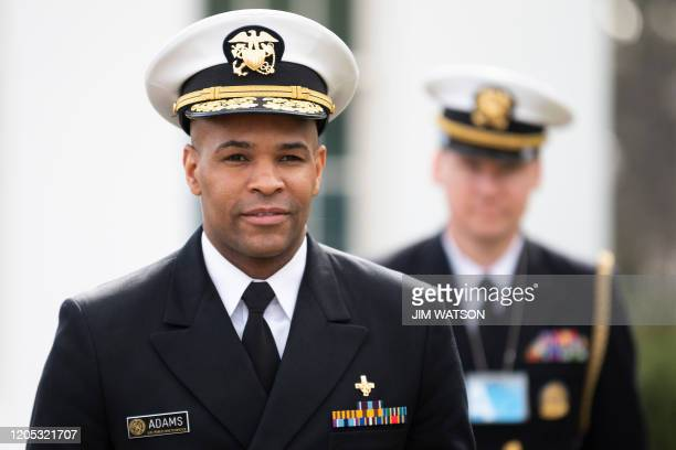 US Surgeon General Jerome Adams arrives at the White House in Washington DC on March 5 2020
