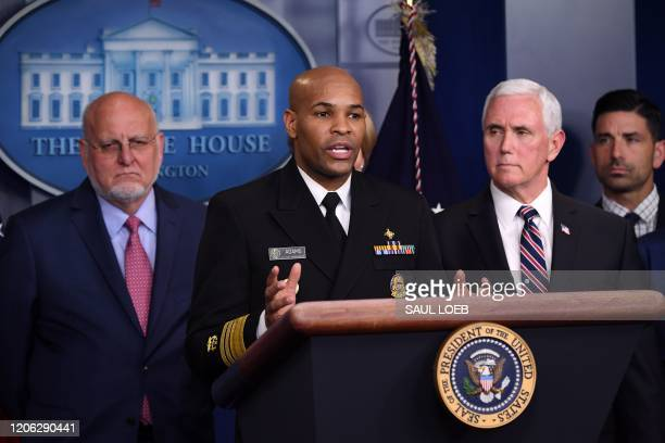 US Surgeon General Jerome Adams speaks about the COVID19 alongside Vice President Mike Pence and members of the Coronavirus Task Force in the Brady...