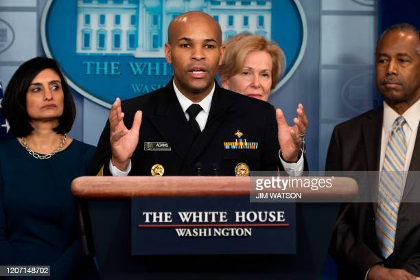 US Surgeon General Jerome Adams speaks during a press briefing about the Coronavirus in the Brady Press Briefing Room at the White House in...