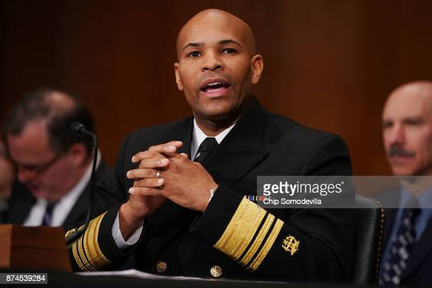 S Surgeon General Jerome Adams testifies before the Senate Health Education Labor and Pensions Committee in the Dirksen Senate Office Building on...