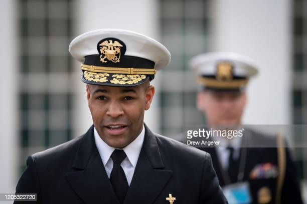 S Surgeon General Jerome Adams walks outside the West Wing of the White House on his way to do a television interview with Fox News on March 5 2020...