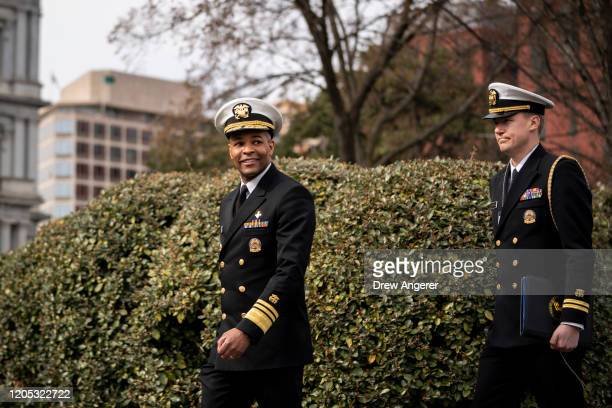 S Surgeon General Jerome Adams walks toward the West Wing of the White House after doing a television interview with Fox News on March 5 2020 in...