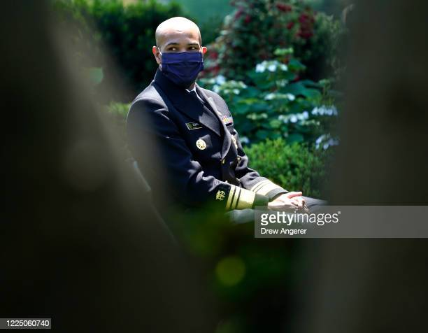 S Surgeon General Jerome Adams wears a mask during an event where US President Donald Trump will speak about coronavirus vaccine development in the...