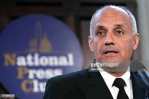 Surgeon General Richard H. Carmona speaks during a news conference at the National Press Club November 8, 2004 in Washington, DC. Carmona declared...