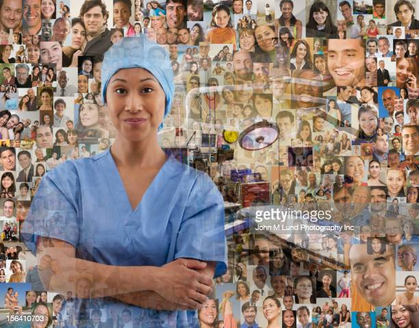Surgeon surrounded by images of people