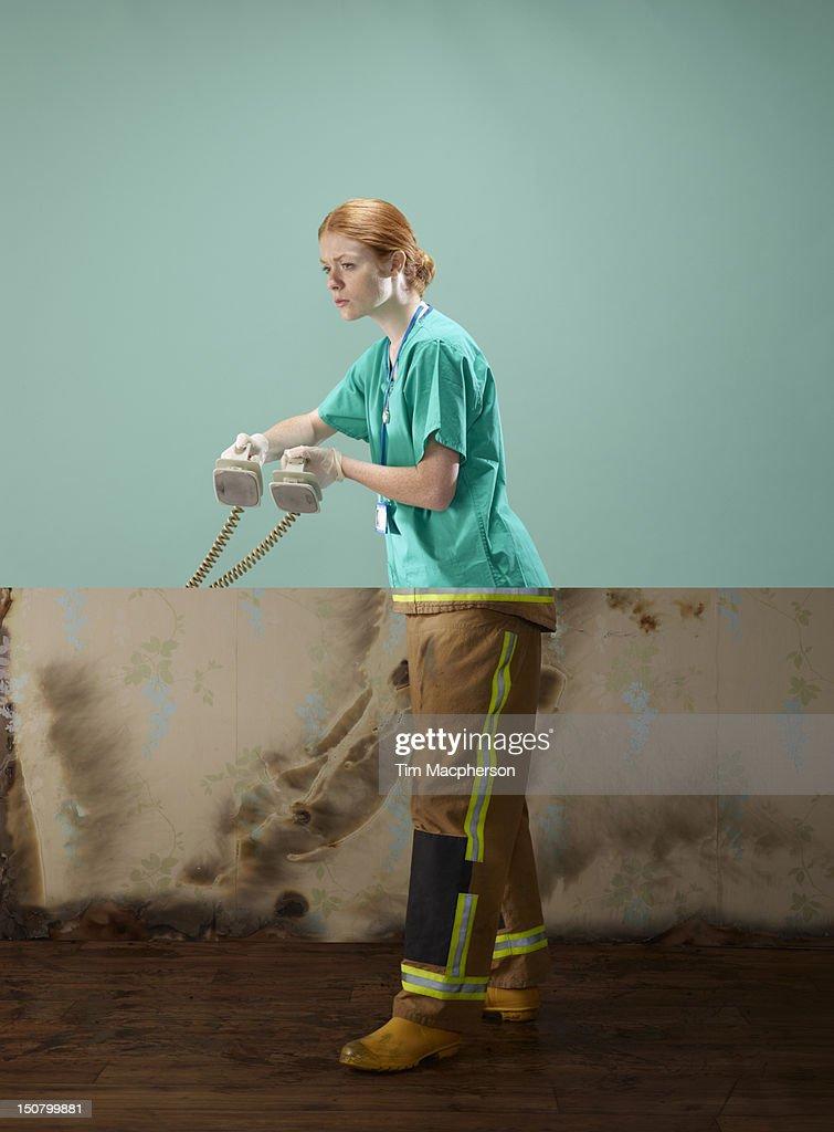 Surgeon top, fireman bottom : Stock Photo