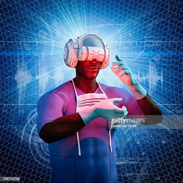 Surgeon using virtual reality helmet