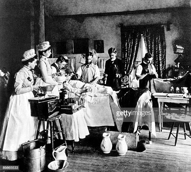 Surgery room in Bellevue hospital in New York c 1880