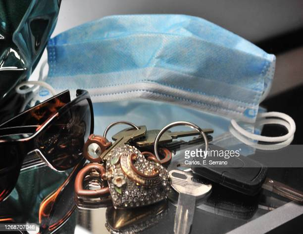 surgical face mask and keys with sunglasses - yonkers stock pictures, royalty-free photos & images