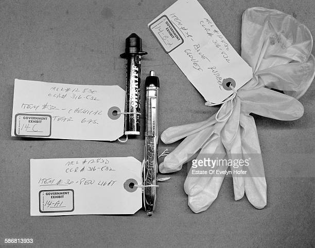 Surgical Gloves Pen torch cylinder of tear gas Government exhibit Watergate 1974