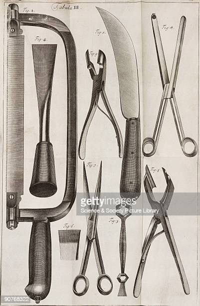 Surgical instruments some of which were probably designed by Dutch surgeon Cornelis Solingen Illustration from �Chirurgia curiosa or The newest and...