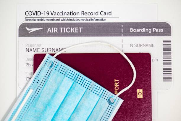 Surgical mask, passport and vaccination certificate