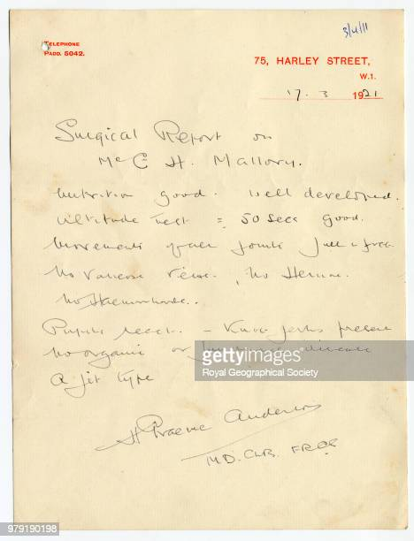 Surgical Report on George Mallory This letter reads 'Surgical Report on Mr G H Mallory Nutrition good Well developed Altitude test = 50 secs good...