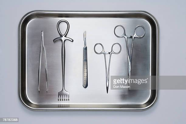 surgical tray and instruments - surgical equipment stock photos and pictures