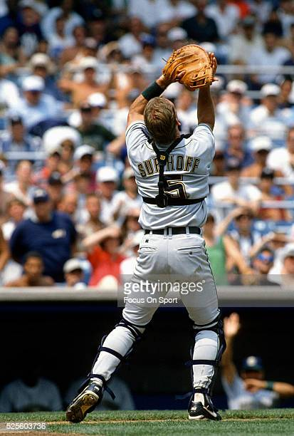 Surhoff of the Milwaukee Brewers catches a foul pop-up against the New York Yankees during an Major League Baseball game circa 1995 at Yankee Stadium...