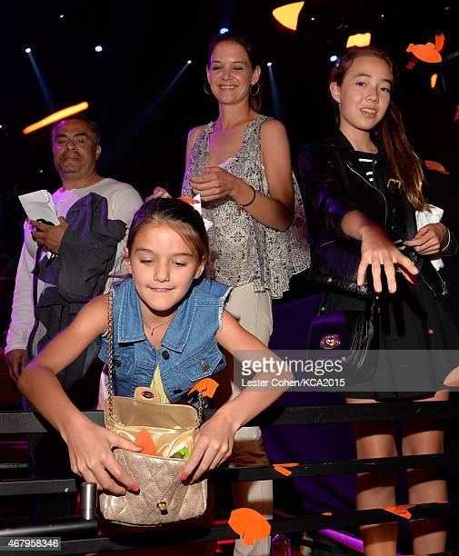 Suri Cruise and actress Katie Holmes in the audience during Nickelodeon's 28th Annual Kids' Choice Awards held at The Forum on March 28 2015 in...