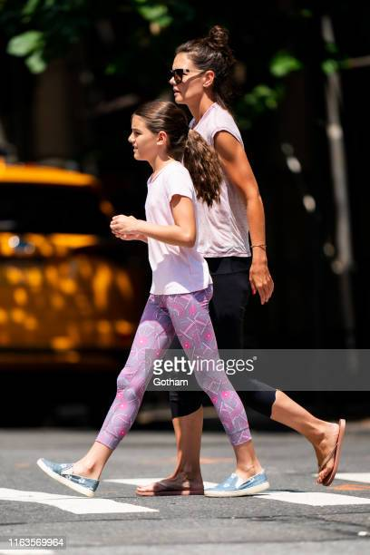 Suri Cruise and Katie Holmes are seen in the Upper West Side on July 22 2019 in New York City
