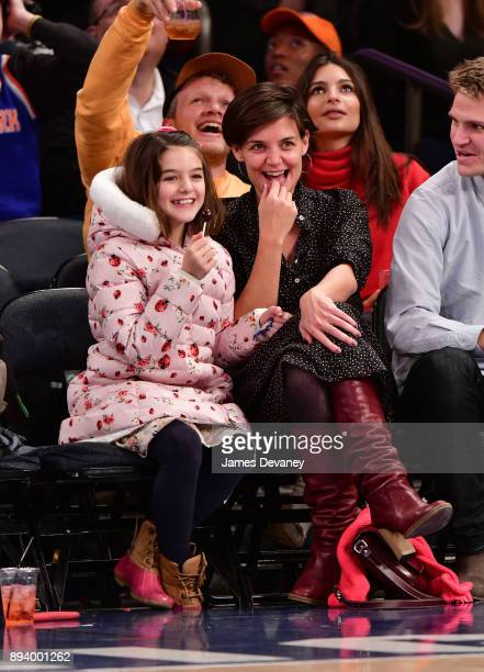 Suri Cruise and Katie Holmes attend the Oklahoma City Thunder Vs New York Knicks game at Madison Square Garden on December 16 2017 in New York City