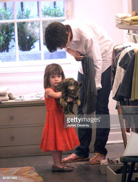 Suri Cruise and mother Katie Holmes visit Bonpoint childrens store in West Village on August 17 2008 in New York City