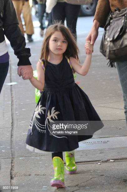 Suri Cruise is seen with Isabella Cruise and Katie Holmes downtown on November 22 2009 in New York City