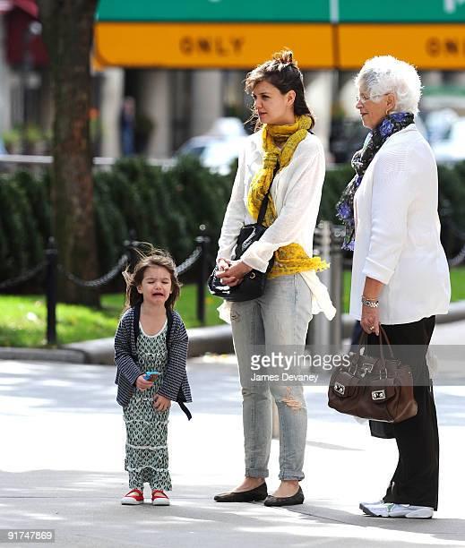Suri Cruise, Katie Holmes and Kathy Holmes seen on the streets of Boston on October 10, 2009 in Boston, Massachusetts.