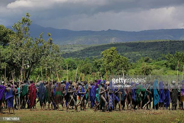 Suri tribal warriors gather for Donga stick fight
