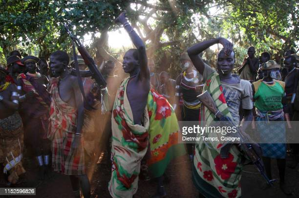 Suri warriors in South Omo, Ethiopia