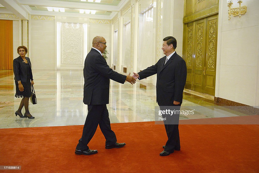 Suriname President Desi Bouterse (L) meets with Chinese President Xi Jinping at the Great Hall of the People on Jun 26, 2013 in Beijing, China. Desi Bouterse is on a visit to China from Jun 24.
