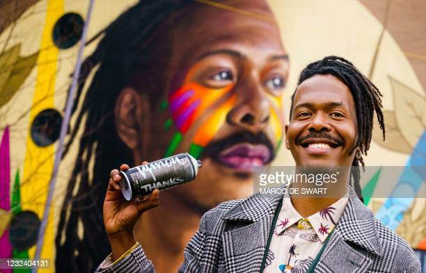 Surinamese singer-songwriter and Eurovision candidate in the run-up to the Eurovision Song Contest Jeangu Macrooy, poses during the unveiling of the...