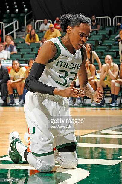 Suriya McGuire of the Miami Hurricanes recovers after being fouled by the Georgia Tech Yellow Jackets on January 17 2013 at the BankUnited Center in...