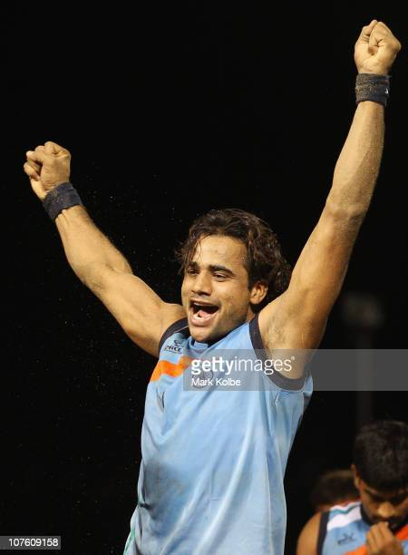 Surjeet Kumar of India celebrates their win in the mens semifinal match between India and Iran during Beach Kabaddi event at North Al Hail during day...
