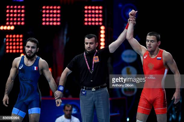 A Surkov of Russia and Malkhasian of France during the Men's 66 Kg GrecoRoman competition during the Paris 2017 World Championships at AccorHotels...