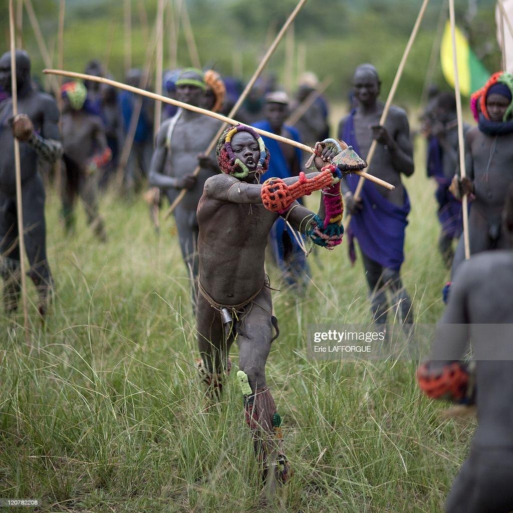 Surma Warriors At Donga Stick Fighting Ritual, In Omo -8496