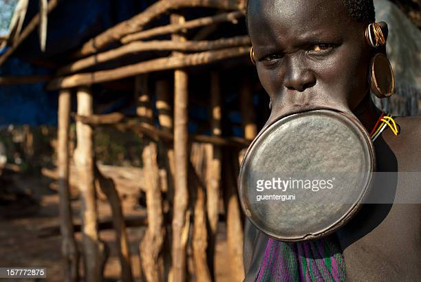Surma woman with a huge lip plate, Southern Ethiopia