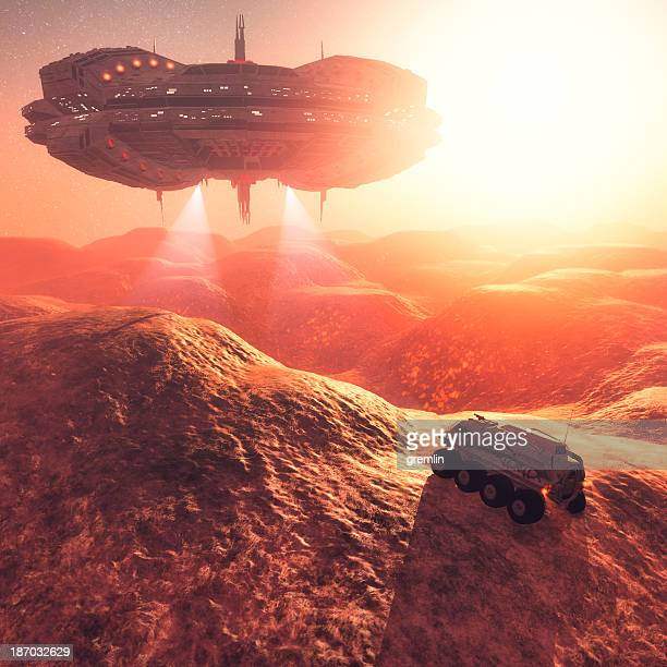 surprise alien ufo mothership attack on mars expedition - spaceship stock photos and pictures