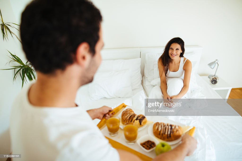 Surprise! Breakfast in bed! : Stock Photo