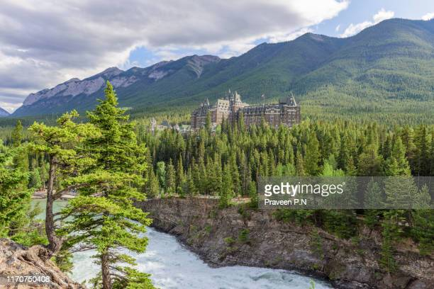 surprise corner viewpoint - sulphur mountain stock pictures, royalty-free photos & images