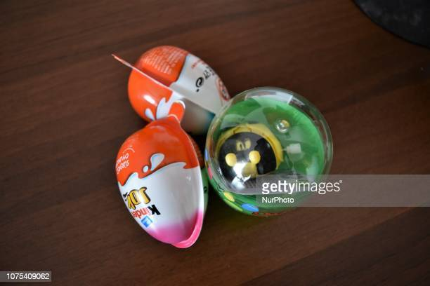 Surprise eggs with toys are seen on a table in Ankara Turkey on December 28 2018 Turkey's Ministry of Trade announced on December 28 that all the...