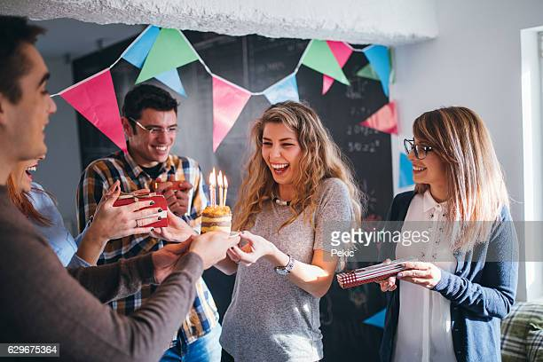 surprise for birthday on work place - happy birthday stock pictures, royalty-free photos & images